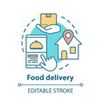 food delivery concept icon customer service lunch vector image vector image