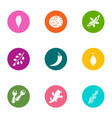 forest leaf icons set flat style vector image