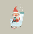 funny angry santa claus sitting in armchair and vector image