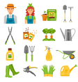 Gardener Tools Accessories Flat Icons Set vector image