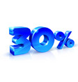 glossy blue 30 thirty percent off sale isolated vector image