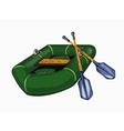 green inflatable boat with oars vector image