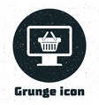 grunge computer monitor with shopping basket icon vector image vector image
