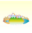 island lake mountains and forest island vector image