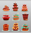 isolated cakes or dessert food bakery and pastry vector image vector image