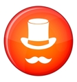 Magic black hat and mustache icon flat style vector image vector image