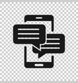 mobile phone chat sign icon in transparent style vector image
