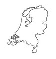 netherlands map of black contour curves of vector image vector image