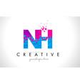 nh n h letter logo with shattered broken blue vector image vector image