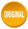 original orange round flat isolated push button vector image vector image