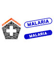 rectangle mosaic hospital with textured malaria vector image vector image