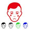 sad crying man face icon vector image vector image