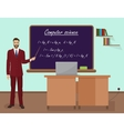 School Computer science male teacher in audience vector image vector image