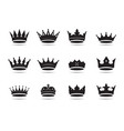 set black king crowns and icon vector image