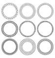 set of round black ink hand-drawn frames vector image vector image