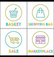 shopping bag and basket sale in marketplace cards vector image vector image