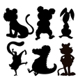 six silhouettes wild animals vector image vector image
