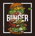 sketch poster with flying burger drawing food vector image vector image