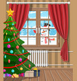 snowman looks in living room window vector image vector image