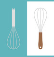 stainless and wooden egg whisk icon vector image