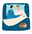 two men and dog in bed vector image vector image