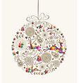 Vintage Christmas bauble greeting card vector image vector image