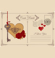 vintage postcard the theme of declaration of love vector image vector image