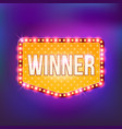 winner retro banner template lightbulb glowing vector image