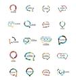 Set of flat linear design speech cloud logos Talk vector image