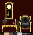 Classic style interior set flat style Digital imag vector image