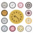 colorful clock faces vintage modern parts index vector image