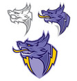 dragon head sport mascot vector image