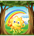 a monster with get-well-soon card and rainbow vector image