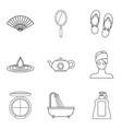 ablutions icons set outline style vector image vector image