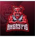 angry pig esport mascot logo design vector image vector image