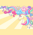 background or card with unicorn and fantasy items vector image