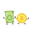 bitcoin coin and money banknote jump vector image