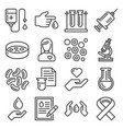 blood test and donation icons set line style vector image vector image