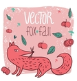 card fox and apples vector image