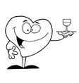 Cartoon heart with wine vector image vector image
