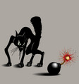 cat was scared of bombs vector image vector image
