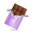 chocolate bar in opened purple wrapped and foil vector image vector image
