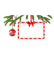 christmas tree banner and ball vector image vector image
