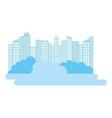 city buildings skyscraper bushes silhouette vector image