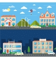 City scene in day and night vector image