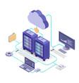 cloud service technology flowchart isometric vector image