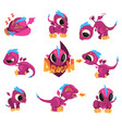 collection of cartoon baby dragon for game design vector image vector image