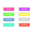 colored modern trendy flat buttons rectangle vector image