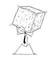 conceptual cartoon of businessman carrying big vector image vector image