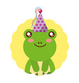 cute frog birthday party hat vector image